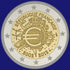 2 € Γαλλια 2012 - 10th Anniversary of Euro coins and banknotes