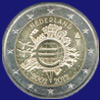 2 € Ολλανδια 2012 - 10th Anniversary of Euro coins and banknotes