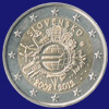 2 € Σλοβακία 2012 - 10th Anniversary of Euro coins and banknotes